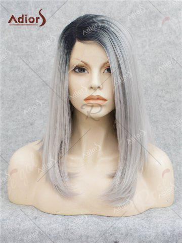 Buy Adiors Medium Side Bang Straight Bob Colormix Lace Front Synthetic Wig - BLACK AND GREY  Mobile