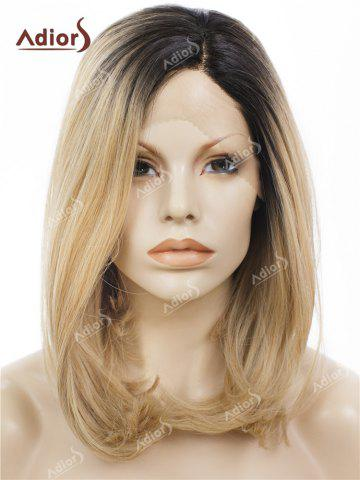 Buy Adiors Medium Side Bang Straight Bob Colormix Lace Front Synthetic Wig - BLACK AND BROWN  Mobile