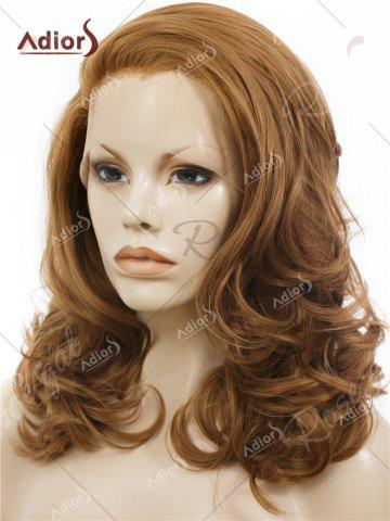 Trendy Adiors Long Shaggy Side Swept Bang Curly Lace Front Synthetic Wig - BROWN  Mobile