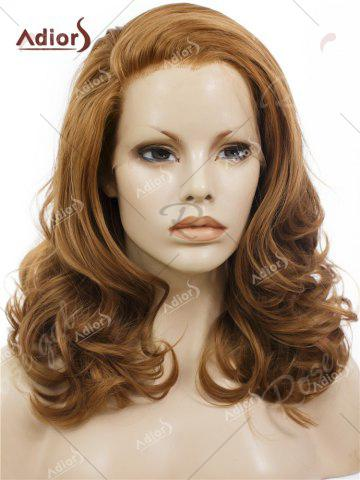 New Adiors Long Shaggy Side Swept Bang Curly Lace Front Synthetic Wig - BROWN  Mobile