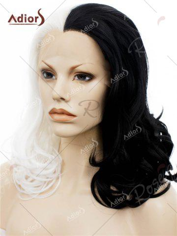 Chic Adiors Long Shaggy Side Swept Bang Curly Lace Front Synthetic Wig - WHITE AND BLACK  Mobile