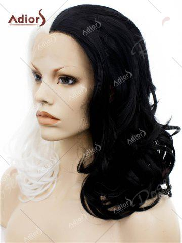 Unique Adiors Long Shaggy Side Swept Bang Curly Lace Front Synthetic Wig - WHITE AND BLACK  Mobile