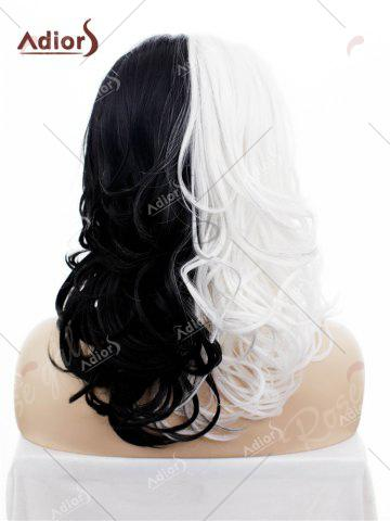 Latest Adiors Long Shaggy Side Swept Bang Curly Lace Front Synthetic Wig - WHITE AND BLACK  Mobile