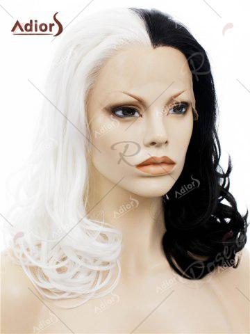 Shop Adiors Long Shaggy Side Swept Bang Curly Lace Front Synthetic Wig - WHITE AND BLACK  Mobile
