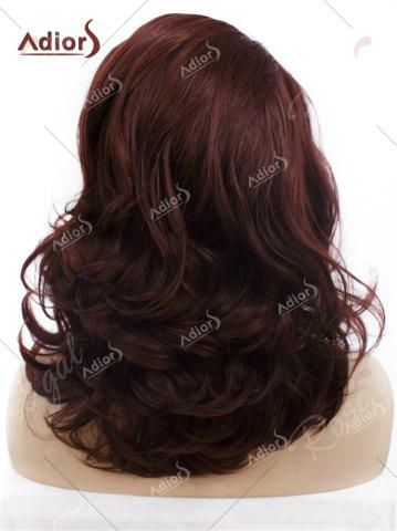 Outfits Adiors Long Shaggy Side Swept Bang Curly Lace Front Synthetic Wig - RED BROWN  Mobile