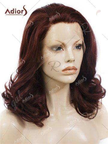 Chic Adiors Long Shaggy Side Swept Bang Curly Lace Front Synthetic Wig - RED BROWN  Mobile