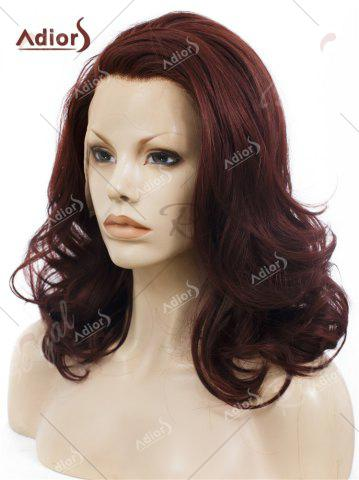 Latest Adiors Long Shaggy Side Swept Bang Curly Lace Front Synthetic Wig - RED BROWN  Mobile