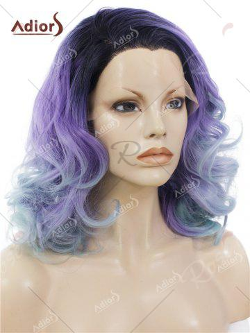New Adiors Long Shaggy Side Swept Bang Curly Lace Front Synthetic Wig - LIGHT PURPLE  Mobile