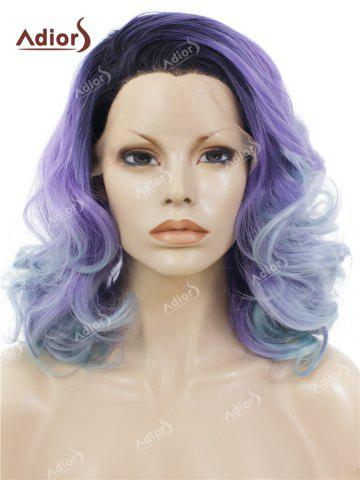 Outfits Adiors Long Shaggy Side Swept Bang Curly Lace Front Synthetic Wig LIGHT PURPLE