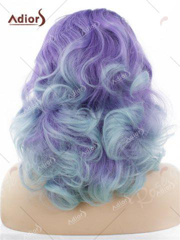Buy Adiors Long Shaggy Side Swept Bang Curly Lace Front Synthetic Wig - LIGHT PURPLE  Mobile