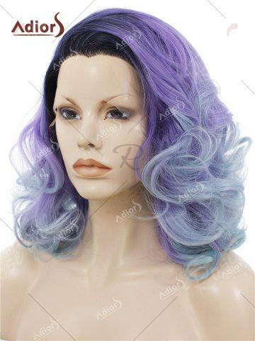 Trendy Adiors Long Shaggy Side Swept Bang Curly Lace Front Synthetic Wig - LIGHT PURPLE  Mobile