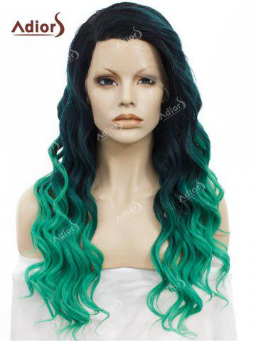 Sale Adios Long Free Part Shaggy Curly Colormix Lace Front Synthetic Wig - GRASS GREEN  Mobile