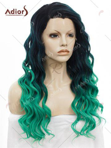 Chic Adios Long Free Part Shaggy Curly Colormix Lace Front Synthetic Wig - GRASS GREEN  Mobile