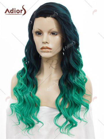 Discount Adios Long Free Part Shaggy Curly Colormix Lace Front Synthetic Wig - GRASS GREEN  Mobile