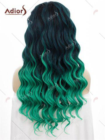 Affordable Adios Long Free Part Shaggy Curly Colormix Lace Front Synthetic Wig - GRASS GREEN  Mobile