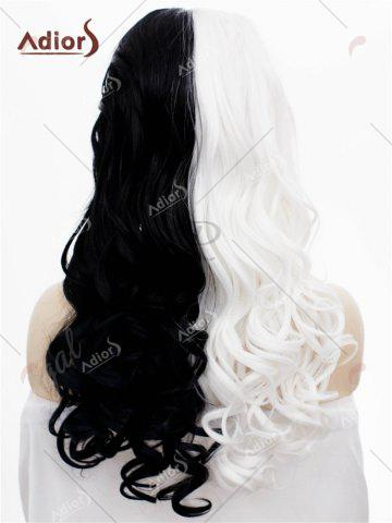 Chic Adios Long Free Part Shaggy Curly Colormix Lace Front Synthetic Wig - WHITE AND BLACK  Mobile