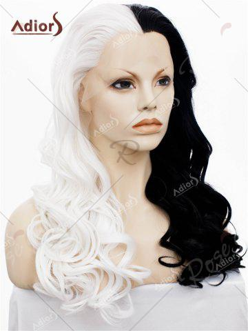 Shops Adios Long Free Part Shaggy Curly Colormix Lace Front Synthetic Wig - WHITE AND BLACK  Mobile