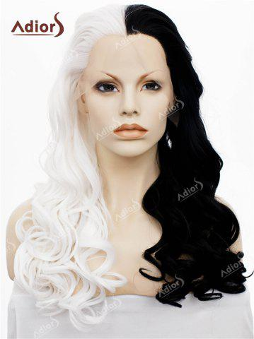 Store Adios Long Free Part Shaggy Curly Colormix Lace Front Synthetic Wig - WHITE AND BLACK  Mobile