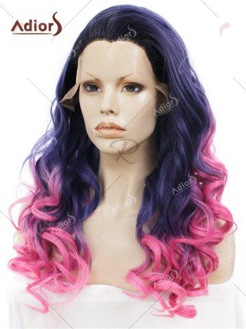 Discount Adios Long Free Part Shaggy Curly Colormix Lace Front Synthetic Wig - GRADUAL BLUE  Mobile