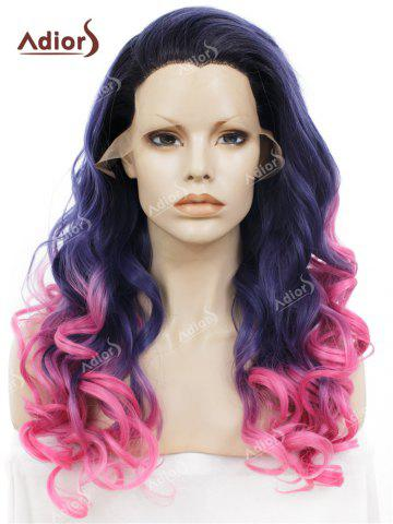 Sale Adios Long Free Part Shaggy Curly Colormix Lace Front Synthetic Wig - GRADUAL BLUE  Mobile