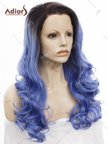 Sale Adios Long Free Part Shaggy Curly Colormix Lace Front Synthetic Wig - BLUE  Mobile