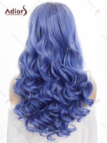 Latest Adios Long Free Part Shaggy Curly Colormix Lace Front Synthetic Wig - BLUE  Mobile