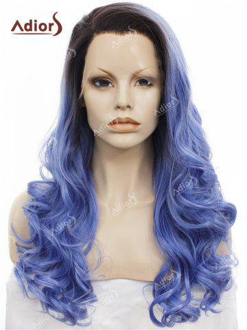 Cheap Adios Long Free Part Shaggy Curly Colormix Lace Front Synthetic Wig - BLUE  Mobile