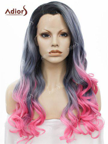 Online Adios Long Free Part Shaggy Curly Colormix Lace Front Synthetic Wig BLACK+GRADUAL GREY