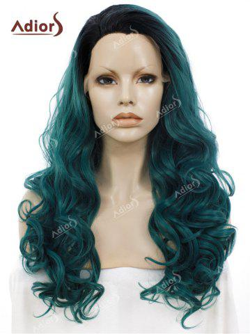 Hot Adios Long Free Part Shaggy Curly Colormix Lace Front Synthetic Wig BLACKISH GREEN