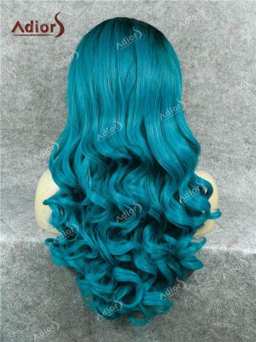 Online Adios Long Free Part Shaggy Curly Colormix Lace Front Synthetic Wig - DEEP BLUE  Mobile