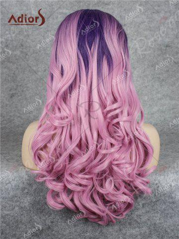 Cheap Adios Long Free Part Shaggy Curly Colormix Lace Front Synthetic Wig - GRADUAL PINK  Mobile