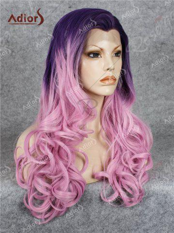 Buy Adios Long Free Part Shaggy Curly Colormix Lace Front Synthetic Wig - GRADUAL PINK  Mobile