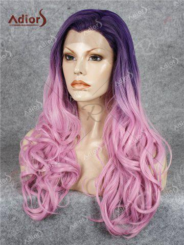 Hot Adios Long Free Part Shaggy Curly Colormix Lace Front Synthetic Wig - GRADUAL PINK  Mobile
