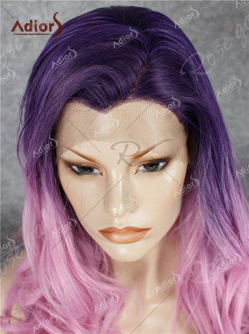 Fashion Adios Long Free Part Shaggy Curly Colormix Lace Front Synthetic Wig - GRADUAL PINK  Mobile
