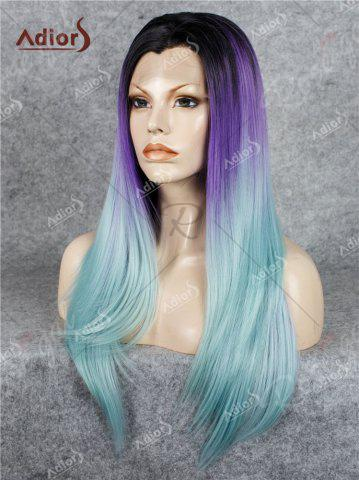 Store Adiors Long Free Part Colormix Glossy Straight Lace Front Synthetic Wig - LARKSPUR  Mobile