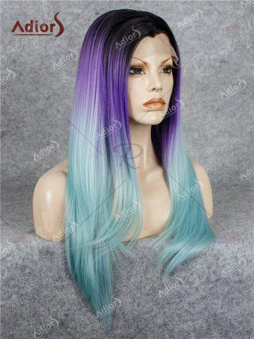 Fancy Adiors Long Free Part Colormix Glossy Straight Lace Front Synthetic Wig - LARKSPUR  Mobile