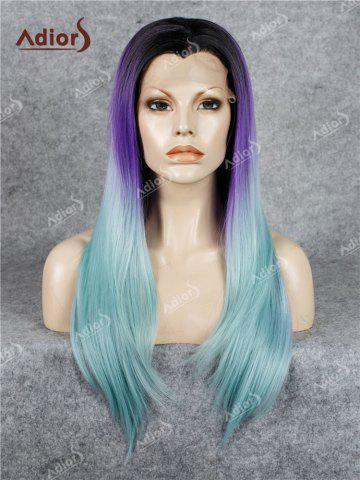 Sale Adiors Long Free Part Colormix Glossy Straight Lace Front Synthetic Wig - LARKSPUR  Mobile
