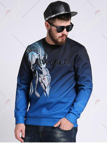 Store Mechanical Dragon Printed Ombre Color Plus Size Sweatshirt - 3XL COLORMIX Mobile