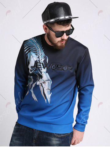 Shop Mechanical Dragon Printed Ombre Color Plus Size Sweatshirt - 3XL COLORMIX Mobile