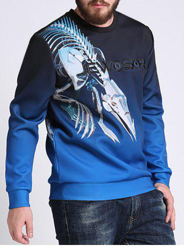 Fancy Mechanical Dragon Printed Ombre Color Plus Size Sweatshirt - 3XL COLORMIX Mobile