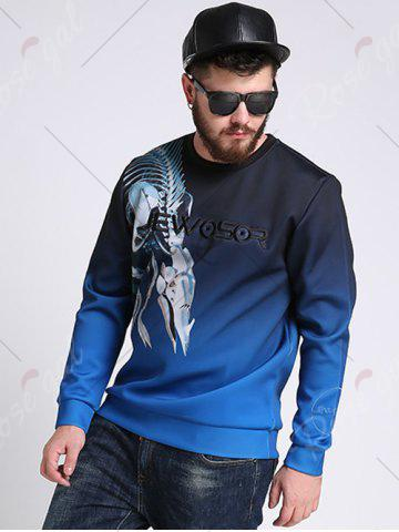 Hot Mechanical Dragon Printed Ombre Color Plus Size Sweatshirt - 3XL COLORMIX Mobile