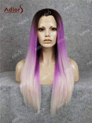 Hot Adiors Long Free Part Colormix Glossy Straight Lace Front Synthetic Wig