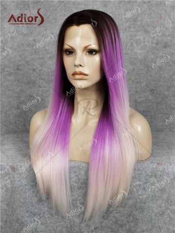 Affordable Adiors Long Free Part Colormix Glossy Straight Lace Front Synthetic Wig - GRADUAL PURPLE  Mobile