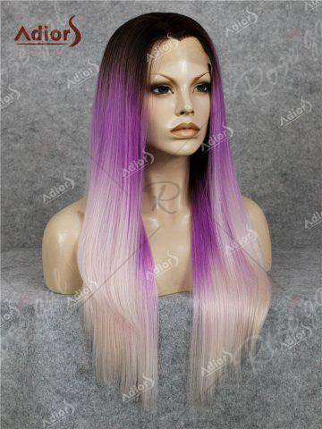 Fashion Adiors Long Free Part Colormix Glossy Straight Lace Front Synthetic Wig - GRADUAL PURPLE  Mobile