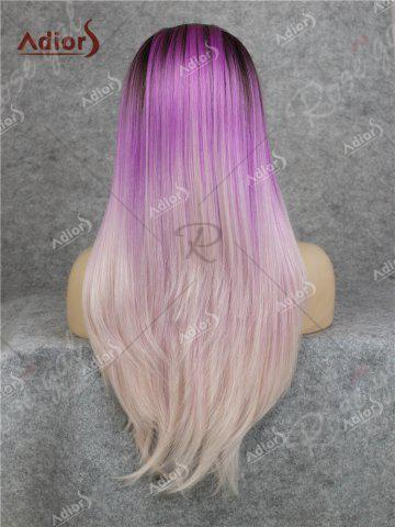 Store Adiors Long Free Part Colormix Glossy Straight Lace Front Synthetic Wig - GRADUAL PURPLE  Mobile