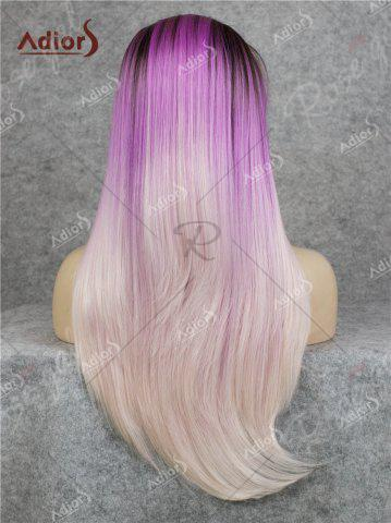 New Adiors Long Free Part Colormix Glossy Straight Lace Front Synthetic Wig - GRADUAL PURPLE  Mobile