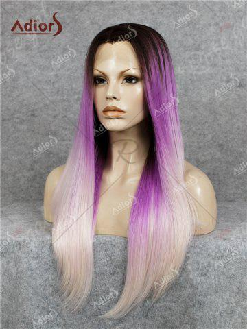 Shops Adiors Long Free Part Colormix Glossy Straight Lace Front Synthetic Wig - GRADUAL PURPLE  Mobile