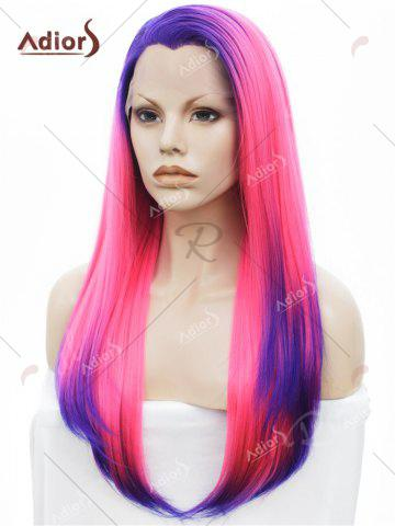Store Adiors Long Free Part Colormix Glossy Straight Lace Front Synthetic Wig - BLUE AND RED  Mobile