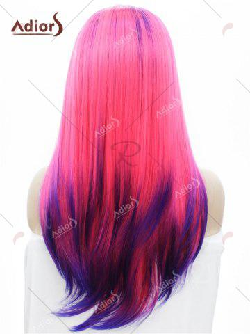 Shop Adiors Long Free Part Colormix Glossy Straight Lace Front Synthetic Wig - BLUE AND RED  Mobile