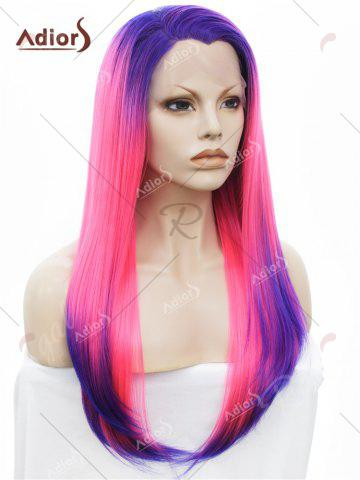 New Adiors Long Free Part Colormix Glossy Straight Lace Front Synthetic Wig - BLUE AND RED  Mobile